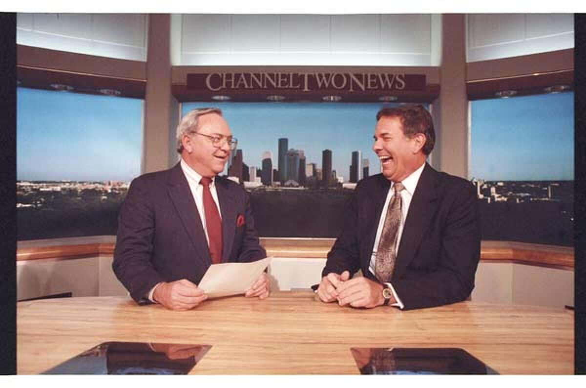 KPRC's Ron Stone and Doug Johnson in 1990.