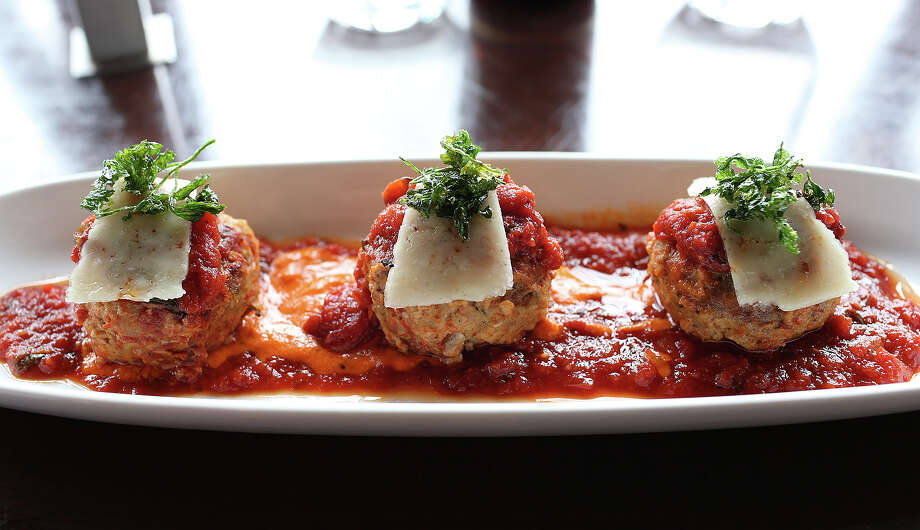Rich flavors of a tomato sauce elevate the well-seasoned and tender meatballs into a highlight on the menu at 188 South in New Braunfels. Photo: JERRY LARA / Photos By Jerry Lara / San Antonio Express-News / © 2014 San Antonio Express-News