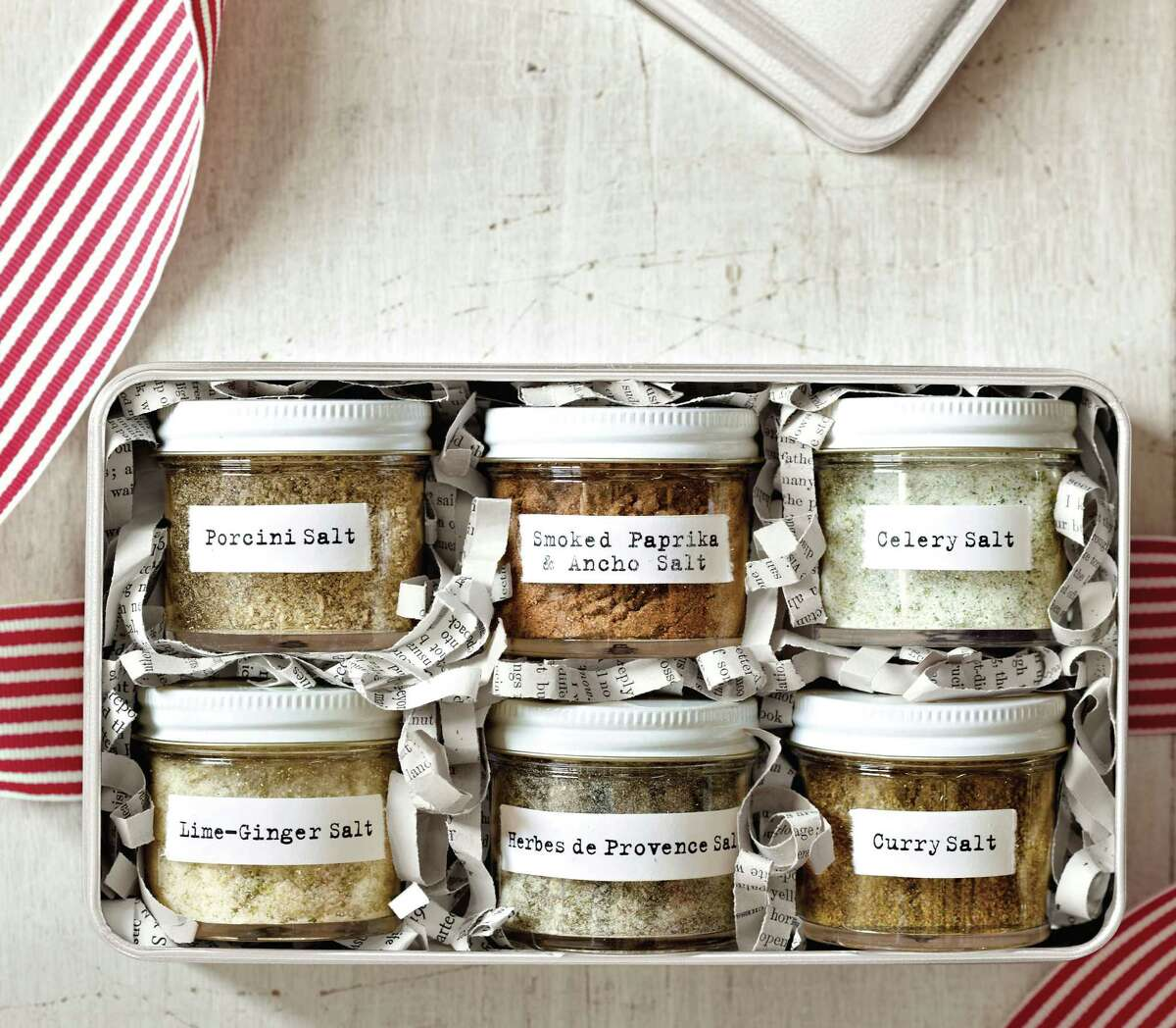 """Flavored salts, from the gift-ideas book """"Holiday Cheer,"""" give your favorite cooks an array of salty flavors."""