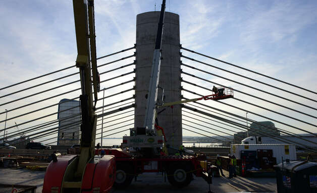 Construction continues on the Pearl Harbor Memorial Bridge in New Haven, Conn., on Thursday Dec. 4, 2014. Photo: Christian Abraham / Connecticut Post