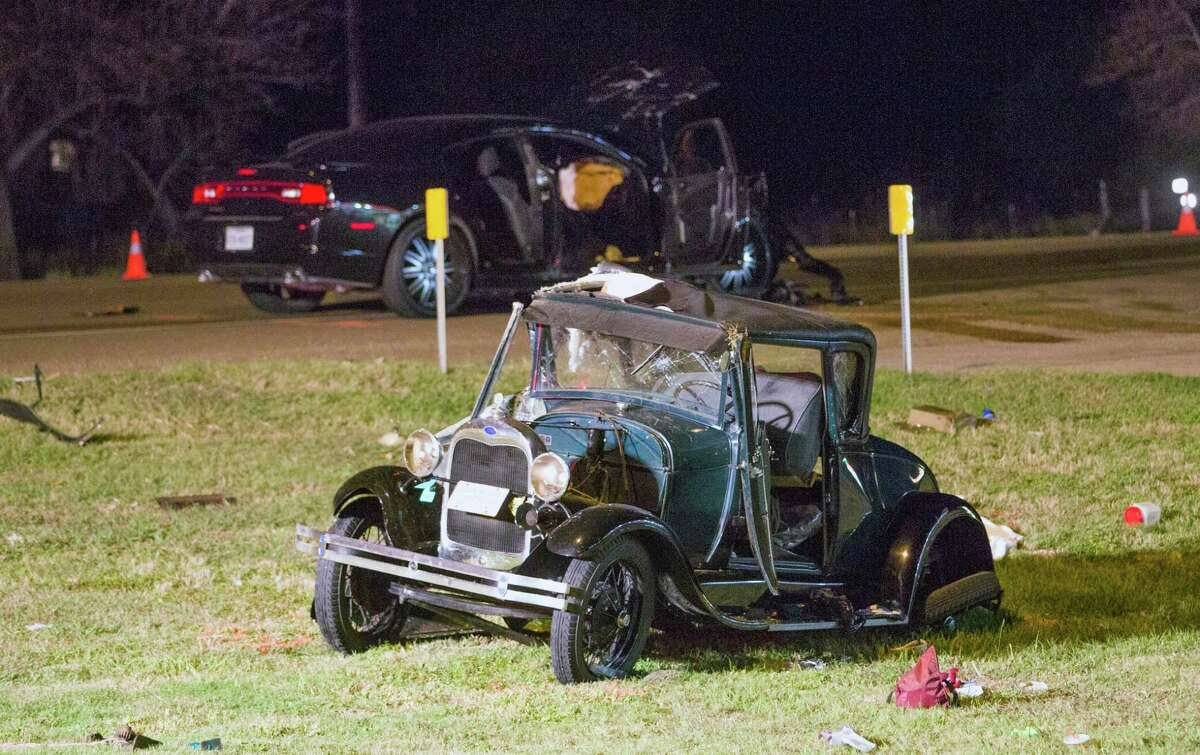 A husband and wife from Houston were killed Saturday night at about 6:50 p.m. after their 1928 Ford was struck on U.S. Highway 87 at Farm-to-Market Road 447 by a Dodge Charger.