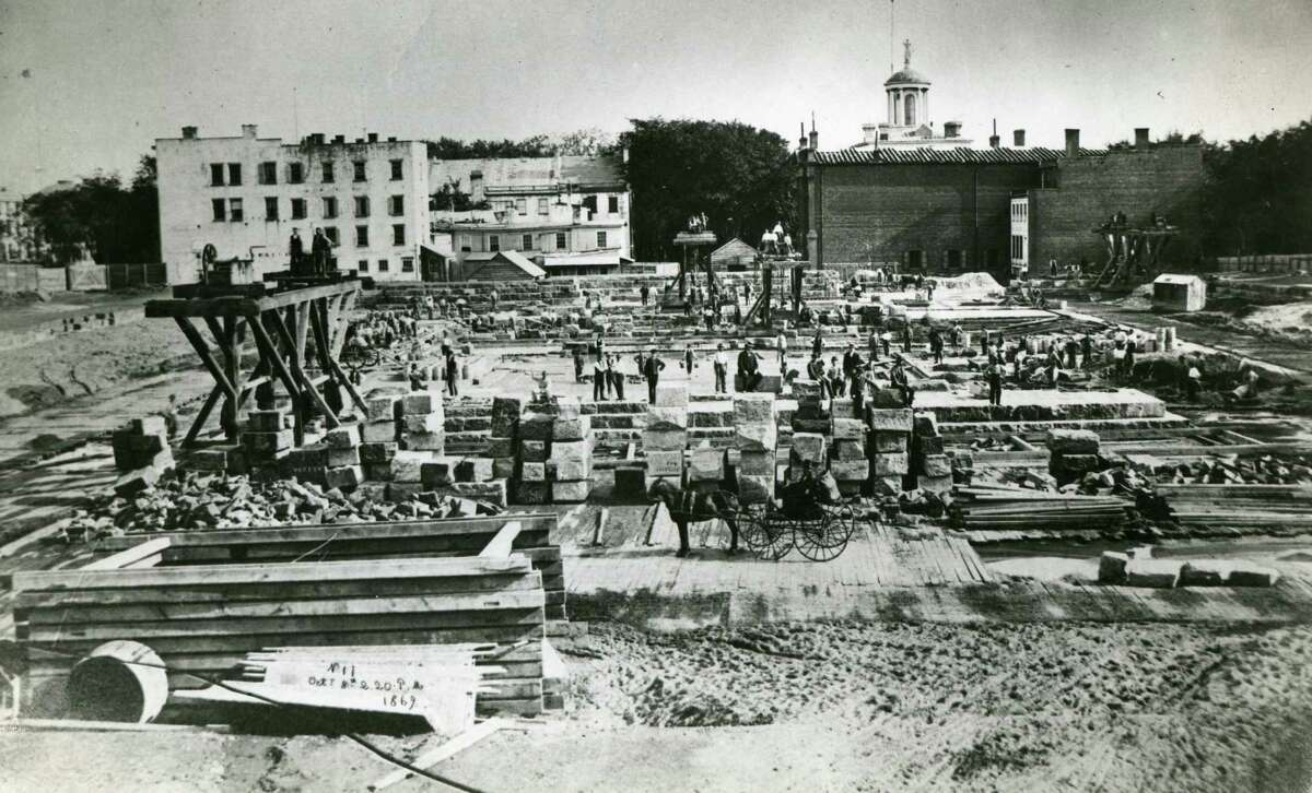 Construction of the New York State Capitol, October 8, 1869 (Times Union Archives)