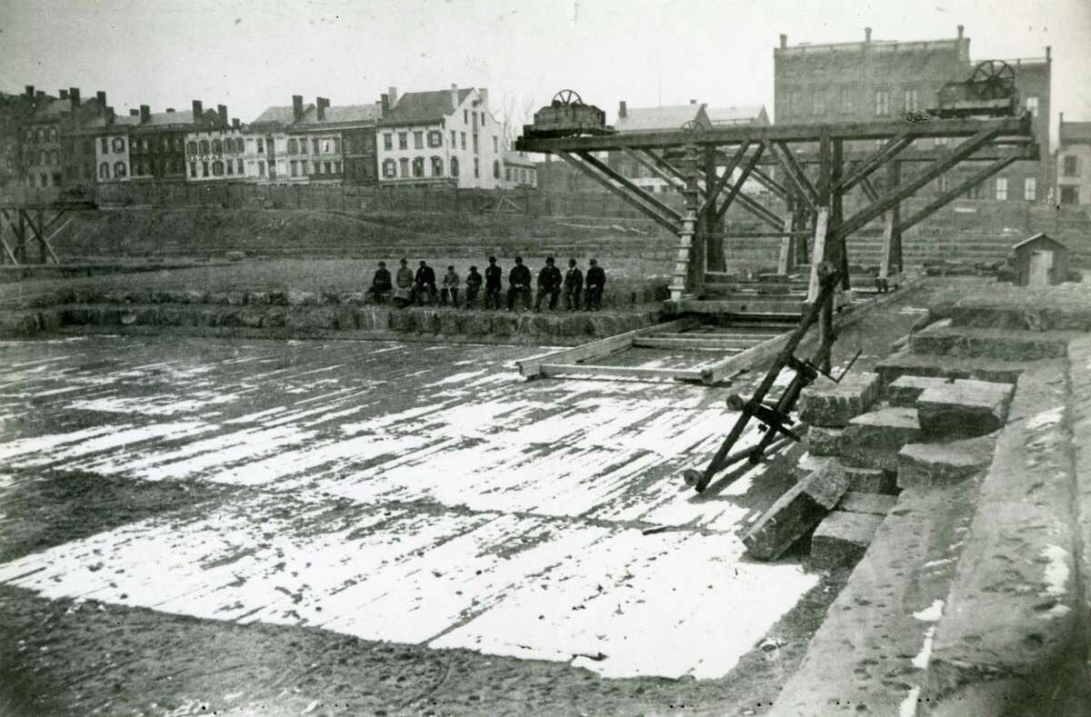 Construction of the New York State Capitol, October 8, 1869 (Times Union Archive)