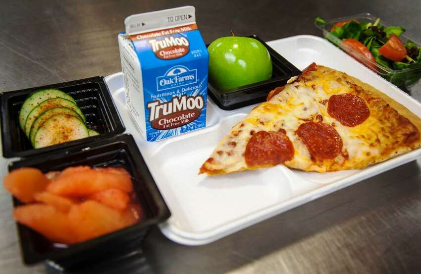Southwest High School - SWISD Whole Grain Pepperoni Pizza, Cucumbers with Chili Lime seasoning, Spring Mix salad, Rosy Pears, Apple and Milk