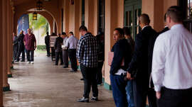 Job seekers lined up for a veterans job fair in San Diego in February.