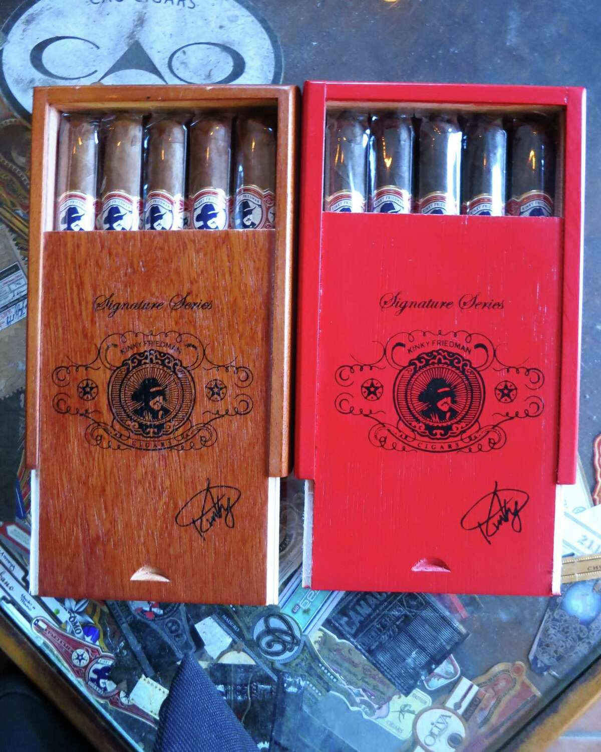 You can find Kinky Friedman's brand of cigars at the Havana Alley Cigar Shop & Lounge in Galveston.