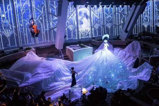 "A scene from ""Starwater,"" a production that fuses live performance and video technology performed in Two70 aboard Royal Caribbean's Quantum of the Seas. Photo: Royal Caribbean / sbw-photo"