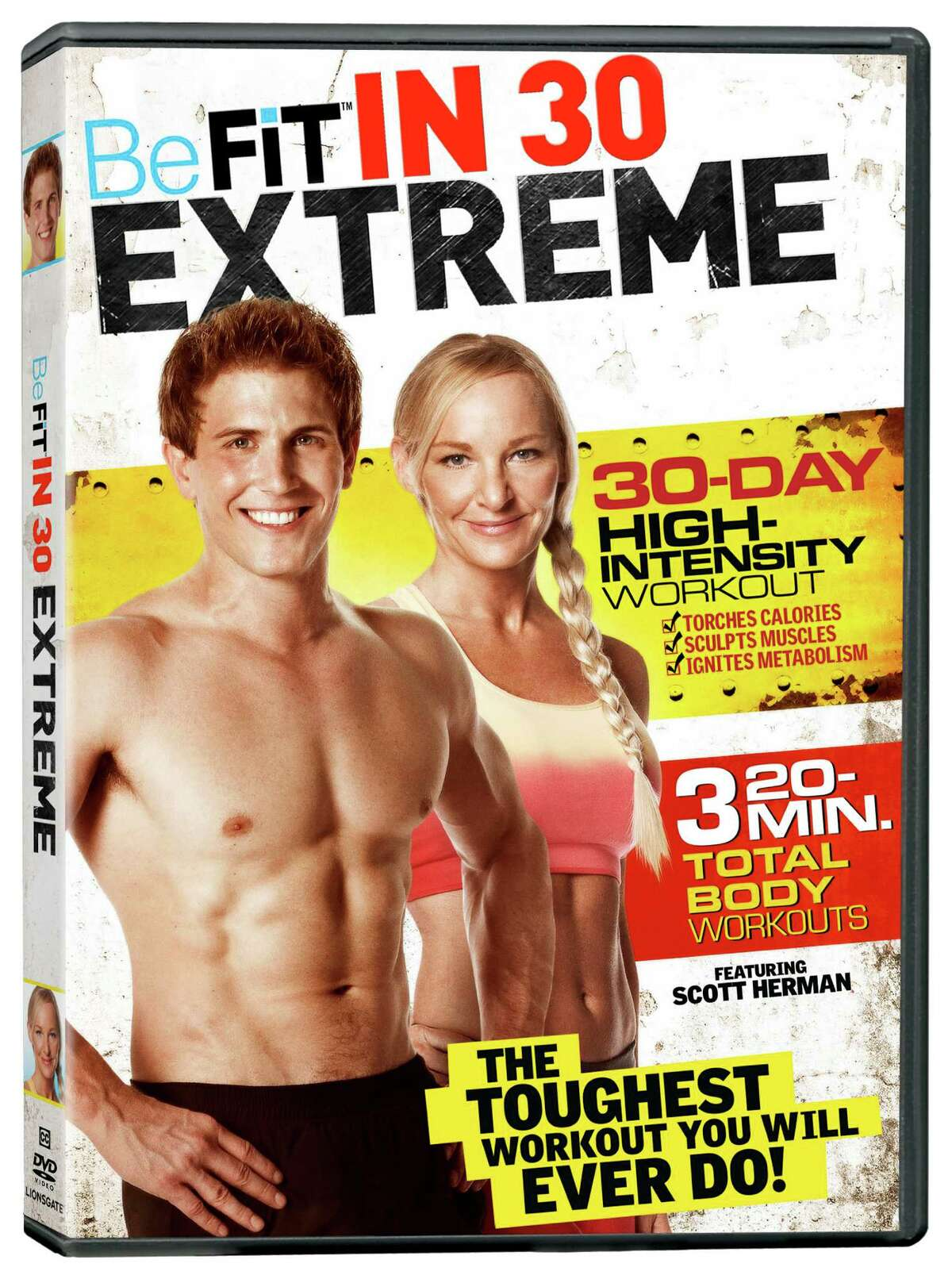 BeFit in 30 Extreme: Fitness YouTube star Scott Herman and trainer Susan Becraft serve up three 20-minute full-body workouts in this high-intensity DVD. Lionsgate Home Entertainment, $14.98 at DVD retailers and online starting Tuesday.