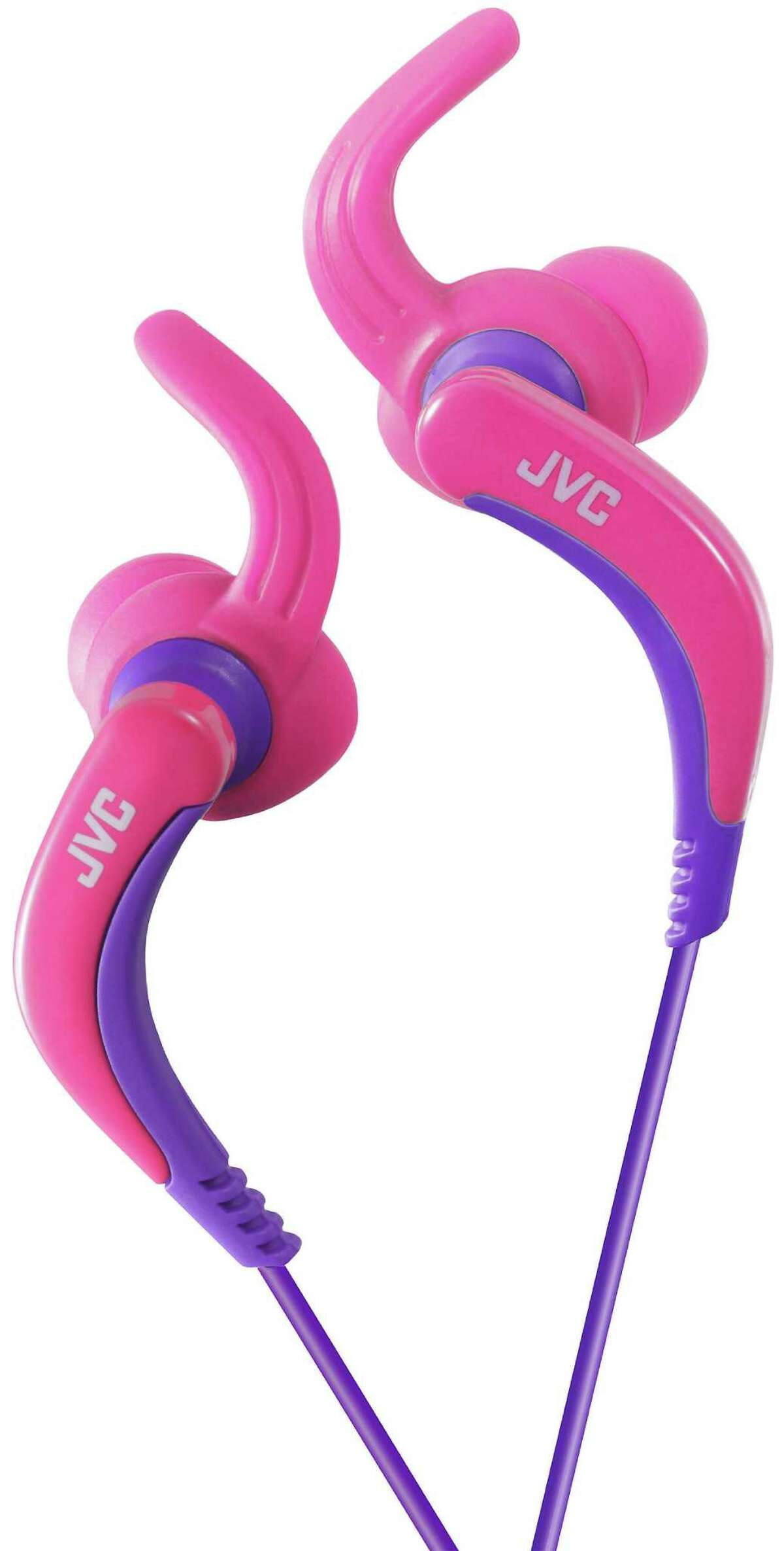 JVC Extreme Fitness HA-ETX30 headphones: These feature a soft rubber rotating hook to keep the earpiece in place during vigorous workouts. The waterproof earbuds also include a 3.94-foot cord with an iPhone compatible plug and a cable clip. $29.95; jvc.com