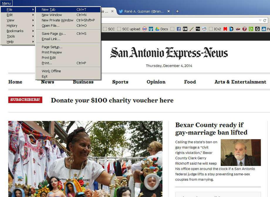 A screenshot of the Firefox Web browser for Windows, showing the keyboard shortcut to add a tab. Photo: Screenshot