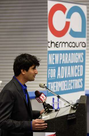 Rutvik Mehta, CEO ThermoAura, speaks at the open house for his company Friday morning Dec. 5, 2014 in Colonie, N.Y.  ThermoAura was also the recipient of another $100,000 investment by the Eastern New York Angels at the open house.  (Skip Dickstein/Times Union) Photo: SKIP DICKSTEIN / 00029761A