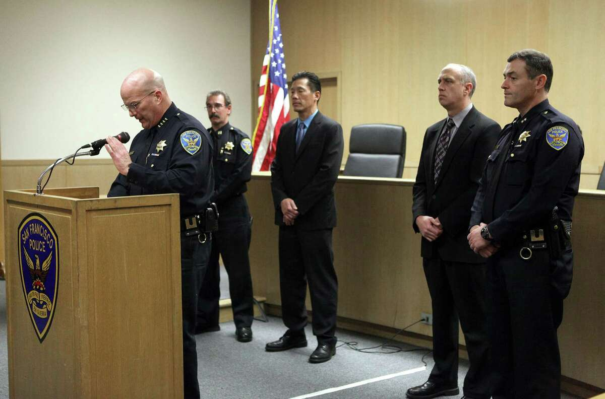 Police chief Greg Suhr (left) comments about the guilty verdicts handed down in federal court against Sergeant Ian Furminger and officer Edmond Robles in San Francisco, Calif., on Friday, December 5, 2014.