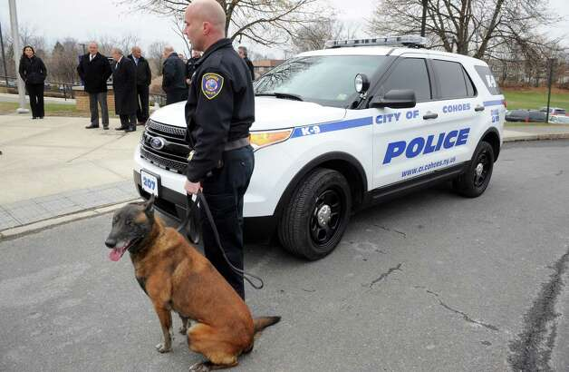 K9 dog Jeter, a 9 year old Belgian Malinois, and K9 Officer Sean Mckown at Harmony Hill Elementary School during a unveiling of the City of Cohoes new 2015 Ford Explorer K9 Unit on Friday Dec. 5, 2014 in Cohoes, N.Y.  (Michael P. Farrell/Times Union) Photo: Michael P. Farrell / 00029762A