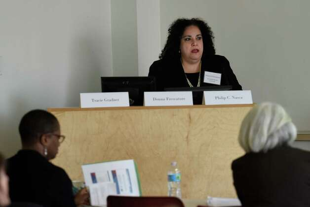 Donna Frescatore, executive director of the NY State of Health, speaks about the New York Marketplace and what it can offer nonprofits, as employer and consumers they serve during a forum at the University at Albany School of Public Health Friday morning Dec. 5, 2014, in Rensselaer, N.Y.  (Skip Dickstein/Times Union) Photo: SKIP DICKSTEIN / 00029757A