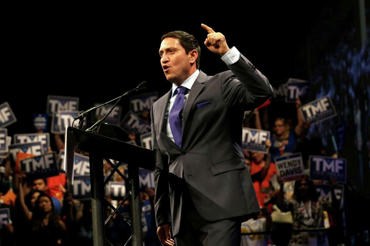 Texas State Rep. Trey Martinez Fischer speaks at the Dallas Convention Center during the Texas Democratic Convention in Dallas, Friday, June 27, 2014. (AP Photo/LM Otero)