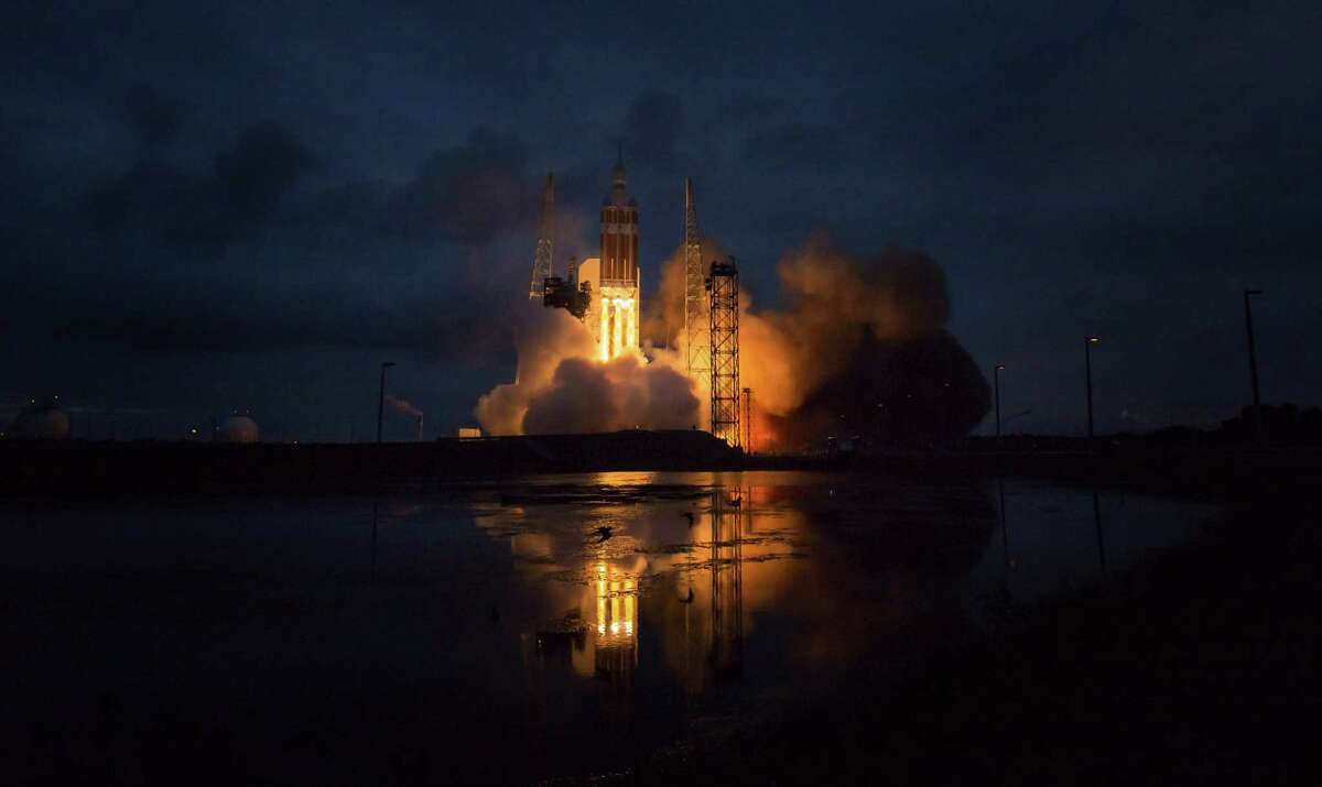 CAPE CANAVERAL, FL - DECEMBER 05: In this handout provided by NASA,The United Launch Alliance Delta IV Heavy rocket with NASA's Orion spacecraft mounted atop, lifts off from Cape Canaveral Air Force Station's Space Launch Complex 37 at 7:05 a.m. EST on December 5, 2014 in Cape Canaveral, Florida. The Orion spacecraft orbited Earth twice, reaching an altitude of approximately 3,600 miles above Earth before landing. (Photo by Bill Ingalls/NASA via Getty Images)