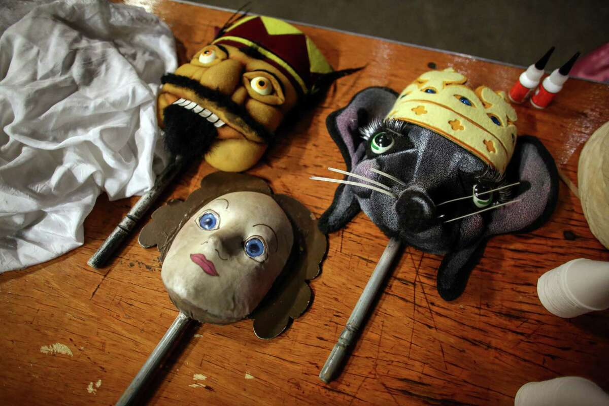 Masks are readied to go on stage during one of the final performances of Pacific Northwest Ballet's popular Nutcracker. The whimsical tale uses props and sets that generations remember.