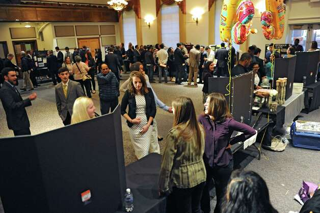Teams of students from The College of Saint Rose offer presentations on what kinds of businesses downtown Albany needs at the Saint Joseph Hall Auditorium on Wednesday, Nov. 3, 2014 in Albany, N.Y. (Lori Van Buren / Times Union) Photo: Lori Van Buren / 00029685A