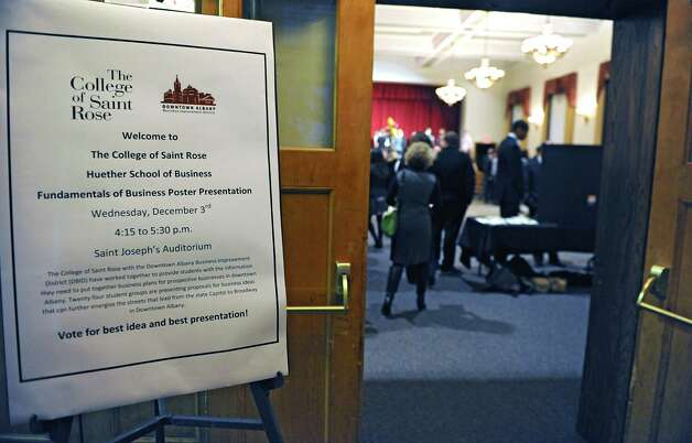 A sign is seen at the Saint Joseph Hall Auditorium where teams of students from The College of Saint Rose offer presentations on what kinds of businesses downtown Albany needs on Wednesday, Nov. 3, 2014 in Albany, N.Y. (Lori Van Buren / Times Union) Photo: Lori Van Buren / 00029685A