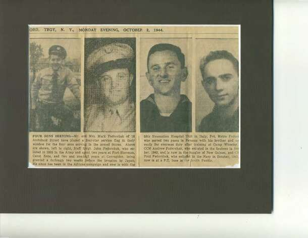 Courtesy of Joan Batza This 1944 Troy Record clipping mentions the four sons of Mr. and Mrs. Mark Fedorchak of 16 Archibald St. serving in the armed forces. From left, Army Staff Sgt. John Fedorchak who was in the African campaign, then went to Italy; Pvt. Metro Fedorchak served two years in Panama and was ready for overseas duty after training at Camp Wheeler; Chief Carpenter?s Mate Andrew Fedorchak was in the New Guinea jungles, and Construction Mechanic Paul Fedorchak, who enlisted in the Navy in 1942, was at a South Pacific P.T. base.