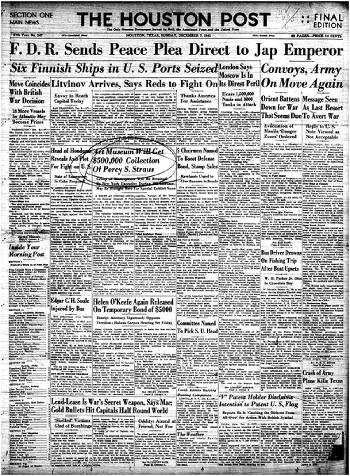 Houston Post front page - December 7, 1941 - Section A, page 1.