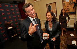 Gavin Newsom and Kamala Harris in 2008.