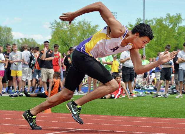 Amsterdam's Izaiah Brown at the start of the boys 400m final during the annual high school track and field Eddy Meet at Schenectady High School in Schenectady, NY Saturday May 18, 2013.  (John Carl D'Annibale / Times Union) Photo: John Carl D'Annibale / 00022412A