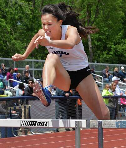 Ellery Brianco of Saratoga High on her way to winning the girls 400m hurdles during the annual Eddy Meet for outdoor track and field Saturday May 17, 2014, in Schenectady, NY.  (John Carl D'Annibale / Times Union) Photo: John Carl D'Annibale / 00026899A