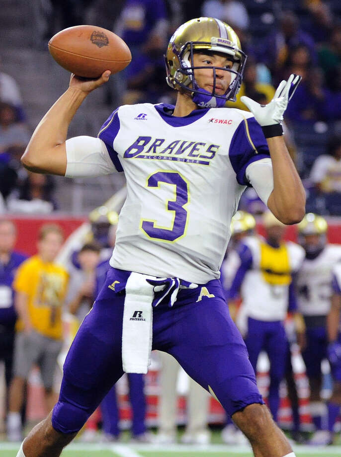 Alcorn State quarterback John Gibbs Jr. (3) passed for 7,451 yards, 57 touchdowns and 19 interceptions during his collegiate career. Photo: Eric Christian Smith, Associated Press / FR171023 AP