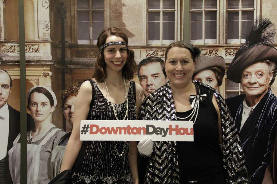 Attending the Downton Abbey premiere evening Jessica Davis(left) and Shannon Watson (right). Photo: Frank, Carbonara Group