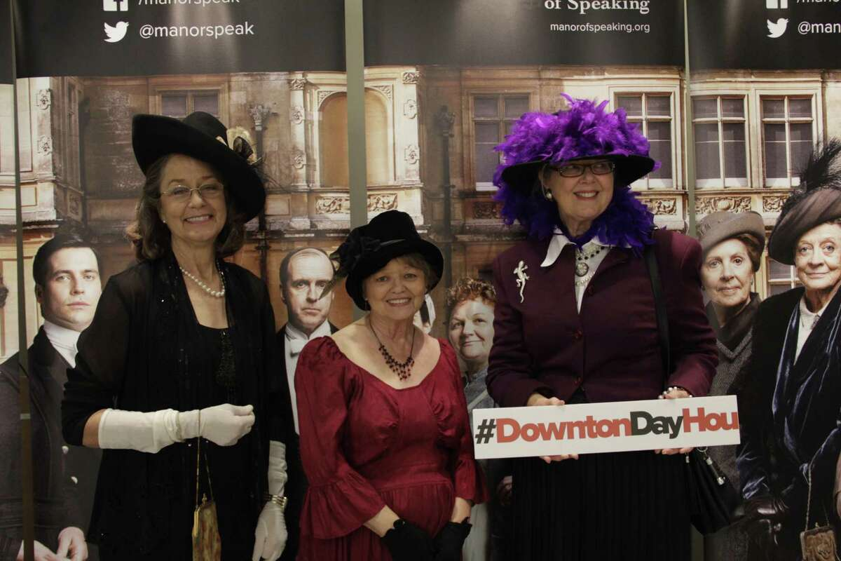 Dressed for the Downton Abbey Season 5 premiere at The University Center Theater hosted by Houston Public Media are (from left to right) Dolores Hastings, Marilyn Padgett and Ann Sweeney.