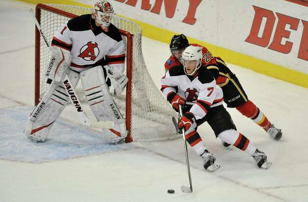 Brandon Burlon of the Albany Devils comes around his net as he brings the puck up the ice in their game against the Adirondack Flames at the Times Union Center on Sunday, Dec. 7, 2014, in Albany, N.Y.  (Paul Buckowski / Times Union) Photo: Paul Buckowski / 00029286G
