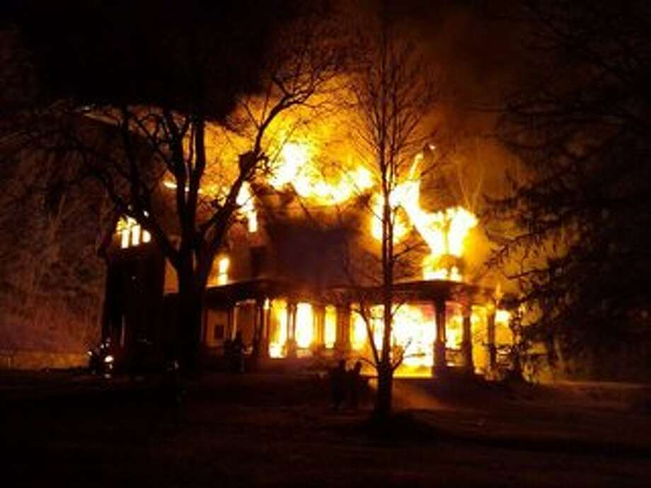 The historic Alfred Dolge Mansion, 9 Dolge Ave. in Dolgeville, Fulton County, was destroyed Saturday, Dec. 6 by a fire. (Photo courtesy of WKTV News, Skyler Srivastava)