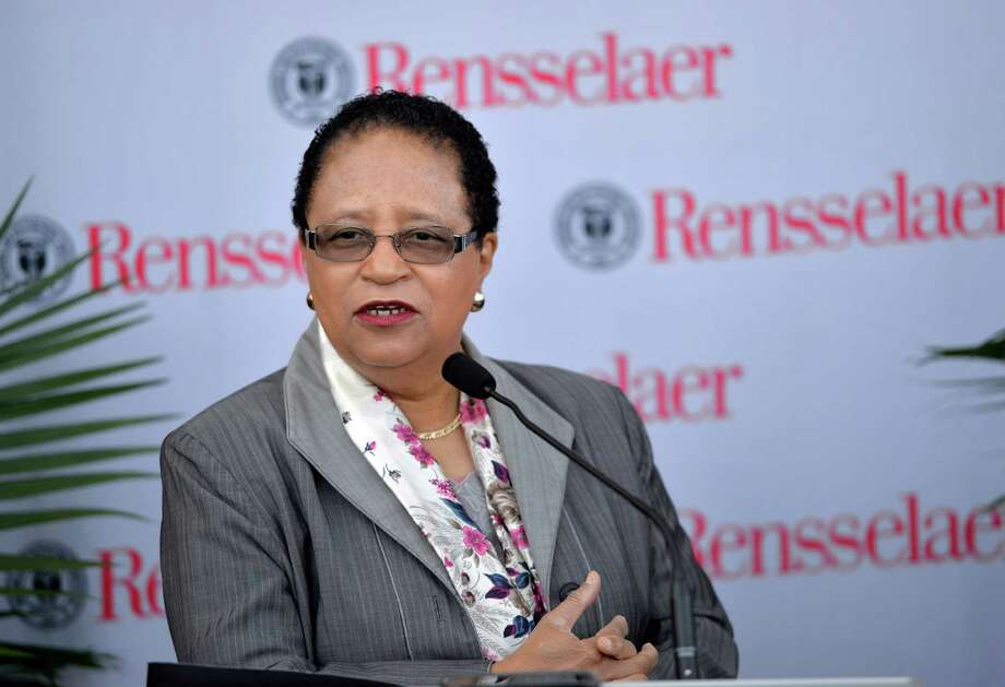 RPI president Shirley Ann Jackson speaks to the media after a forum on the future of Manufacturing in the Capital Region and across the nation put on by RPI at the EMPAC Thursday morning April 24, 2014 in Troy, N.Y.         (Skip Dickstein / Times Union) Photo: SKIP DICKSTEIN / 00026618A