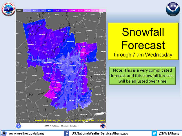 This is the latest snow forecast from the National Weather Service in Albany. Forecasters say the precise level of snowfall is still up in the air as they examine various weather models. (National Weather Service)