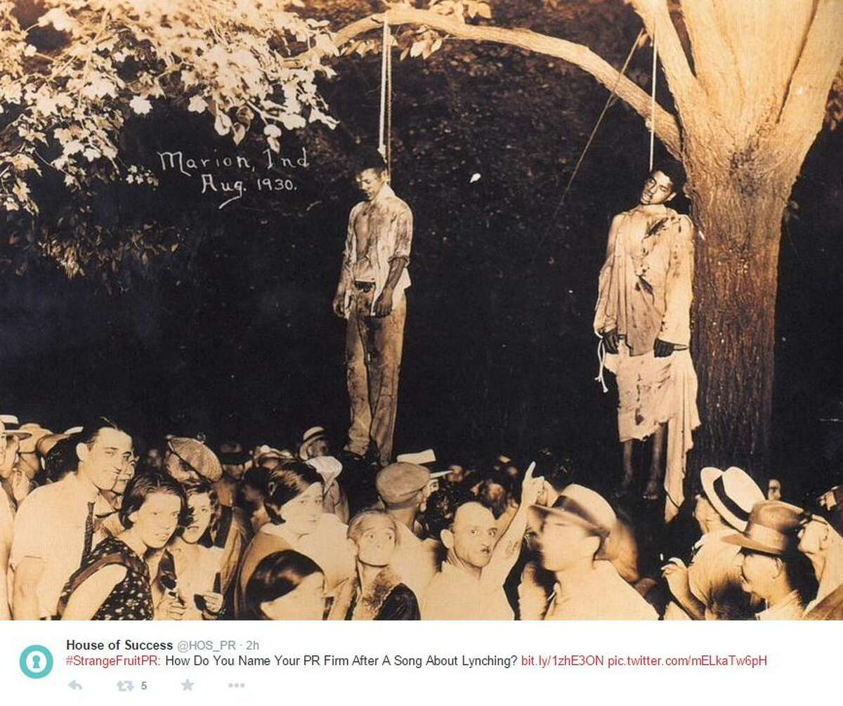"""Strange Fruit Public Relations, based in Austin with clients in San Antonio, has dropped its name after the company was barraged with social media messages questioning they used a name most affiliated with a 1937 protest song about the lynching of African-Americans. Mary Mickel, who co-founded Strange Fruit Public Relations with Ali Slutsky, told the Austin American-Statesman that the two had not heard of the song """"Strange Fruit"""" when they named the company in 2012."""