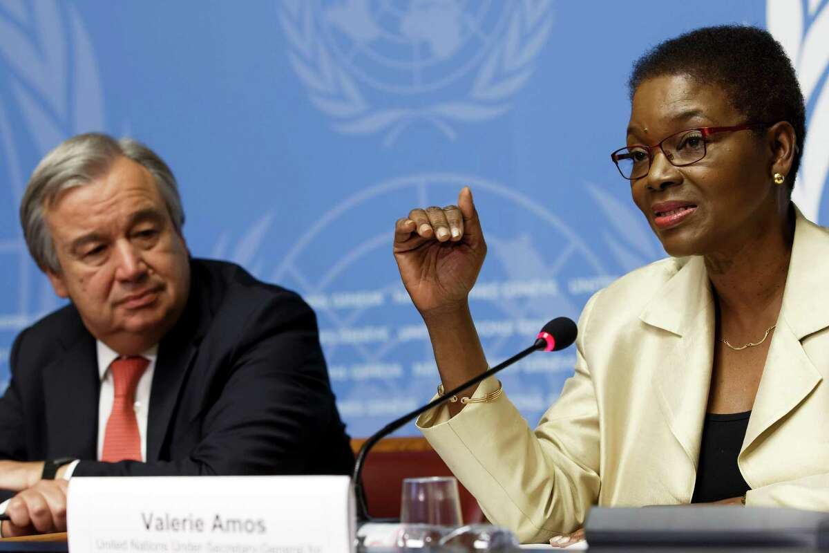 Britain's Valerie Amos (right) United Nations undersecretary-general for humanitarian affairs and emergency relief coordinator, and United Nations High Commissioner for Refugees Portuguese Antonio Manuel de Oliveira Guterres launch the Global Humanitarian Appeal 2015 to support people affected by disaster and conflict. The press conference was held at the European headquarters of the United Nations in Geneva.