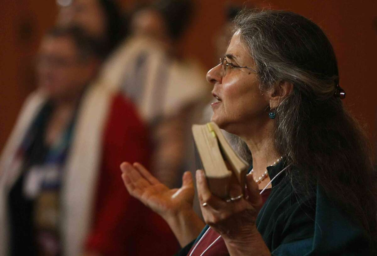 Jalda Rebling of Berlin, Germany participates in a morning worship service during the first-ever LGBTQ Jewish Clergy Retreat at Congregation Sha'ar Zahav on Dolores Street in San Francisco, Calif. Monday, December 8, 2014.