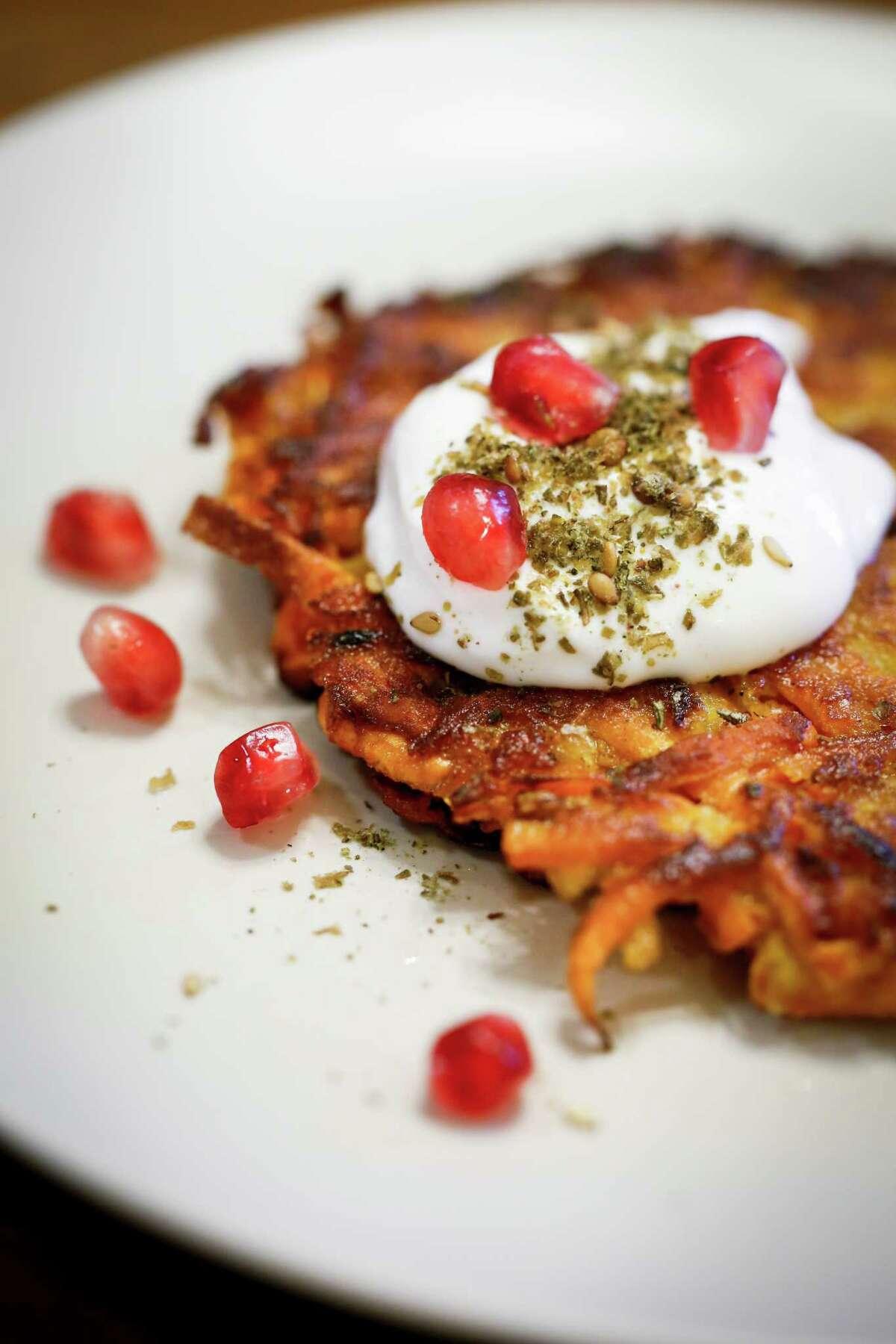Sweet potato latkes made by Evan Bloom and Leo Beckerman of Wise Sons Jewish Delicatessen.