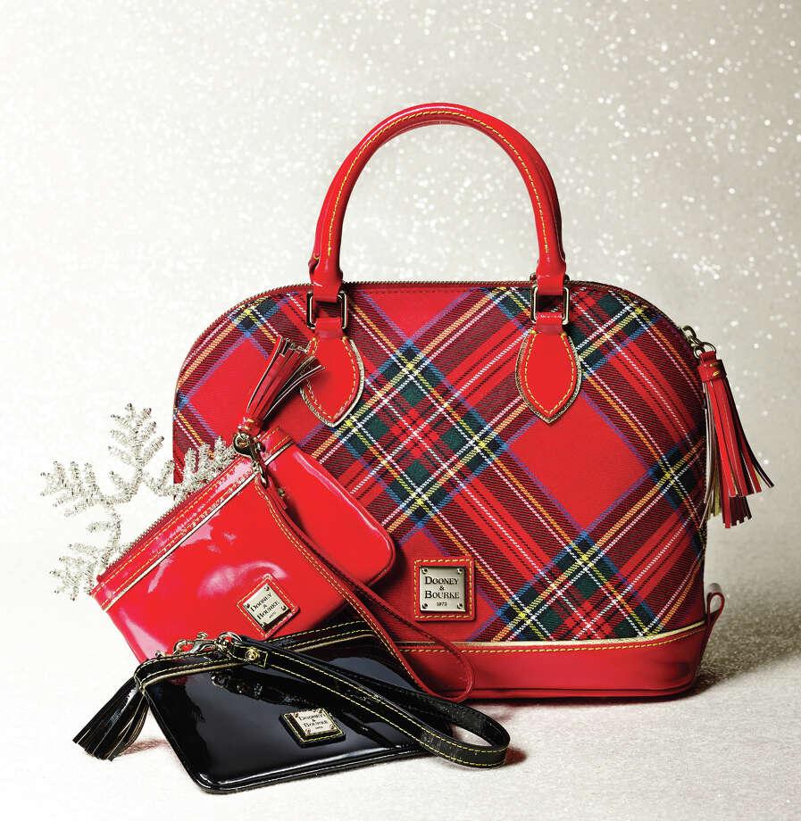 Dooney & Bourke tartan zip satchel, $228; patent leather wristlet, $68, both from Macy's and macys.com/mba. Photo: Courtesy Photo Macy's / San Antonio Express-News