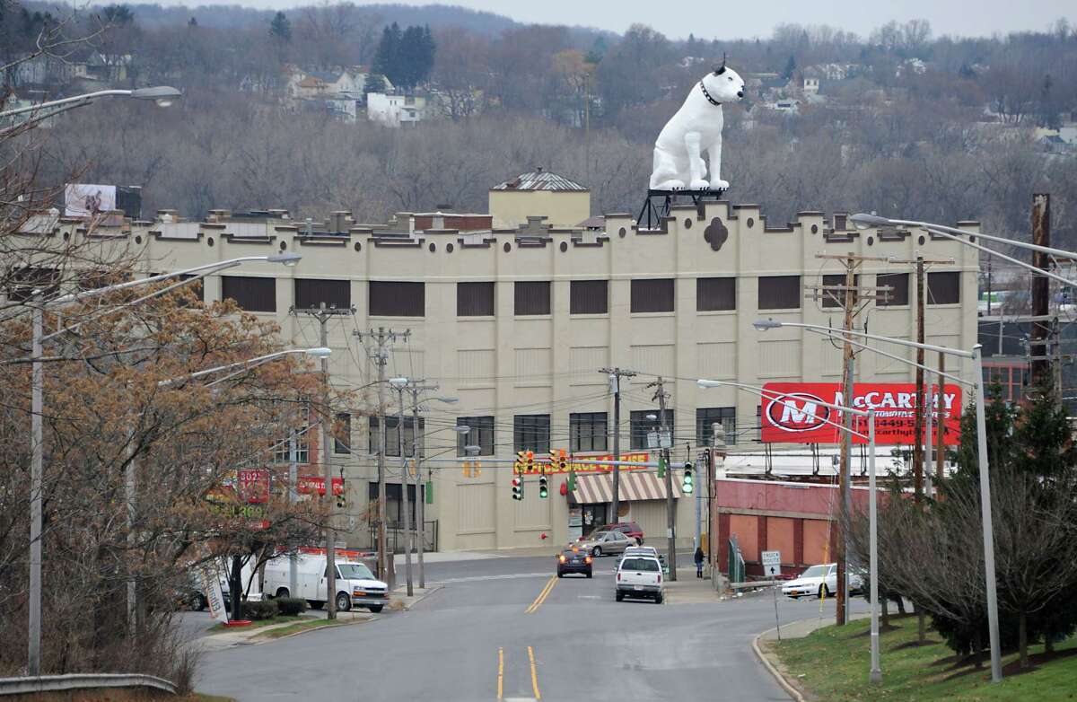 Arnoff Moving and Storage on Broadway is known for its 28-foot fiberglass RCA dog known as Nipper. (Lori Van Buren / Times Union)