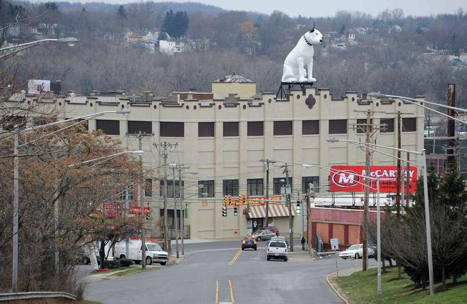 Arnoff Moving and Storage on Broadway is known for its 28-foot fiberglass RCA dog known as Nipper. (Lori Van Buren / Times Union) Photo: Lori Van Buren / 00029782A
