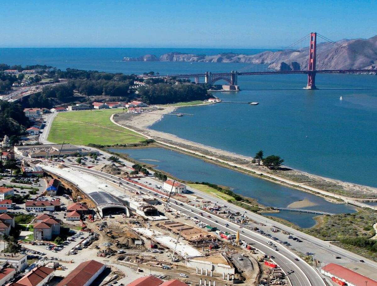An aerial view of construction site that eventually will be part of a 13-acre terraced landscape connecting the Presidio's Main Post and Crissy Field.