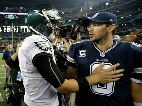 Philadelphia's Mark Sanchez greets the Cowboys' Tony Romo after their Thanksgiving game on Nov. 27. The Eagles won 33-10. Photo: Tim Sharp, FRE / Associated Press / FR62992 AP