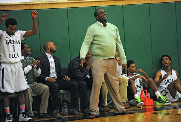 Green Tech head coach Jamil Hood Sr. reacts to a call during a basketball game against Queensbury on Monday, Dec. 8, 2014 in Albany, N.Y. (Lori Van Buren / Times Union) Photo: Lori Van Buren / 00029773A