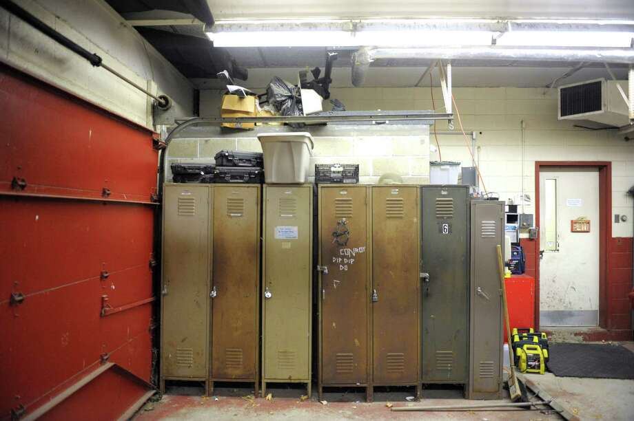 Lockers inside the sally port of the Bethel Police Station, which held an open house ahead of next weeks referendum on a new police station, on Wednesday night, December 3, 2014, in Bethel, Conn. Photo: H John Voorhees III / The News-Times