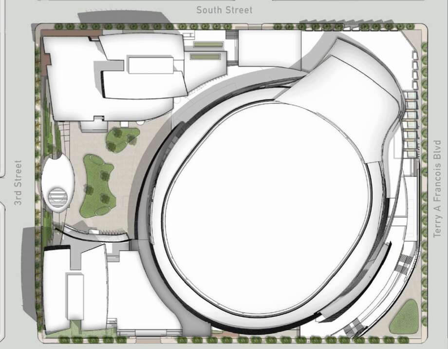 Original design of Golden State Warriors planned Mission Bay arena had critics saying it resembled a toilet. Photo: M&r / Manica Architecture / ONLINE_YES