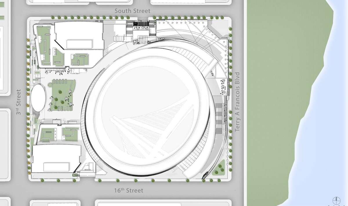 Revised overhead drawing of Golden State Warriors newly planned arena in Mission Bay now has an observation deck that resembles a fin -- not a toilet
