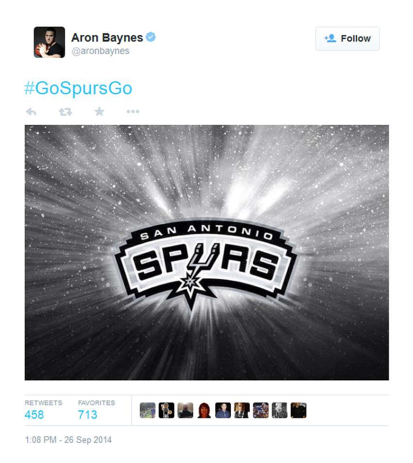That time he was full of Spurs spirit.Tweet by @aronbaynes