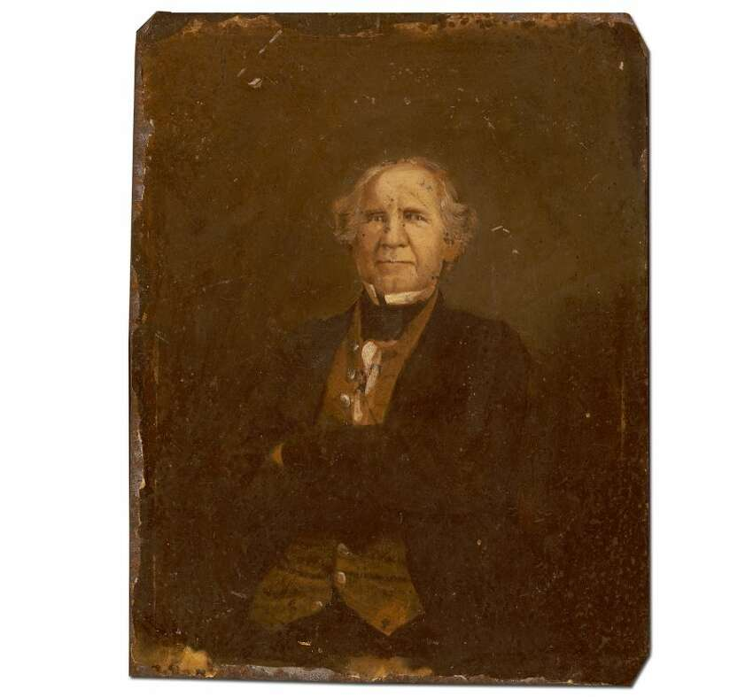 Portrait of Sam Houston, 1/102-286 The subject of this image is unmistakably Sam Houston, yet there are several unanswered questions associated with the photograph. Did Houston actually pose before the camera to have this tintype portrait made, to which paint was applied, or was it a mass-produced copy image?  Source: Texas State Library and Archives Commission